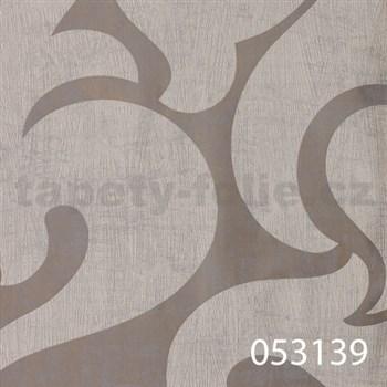 Vliesové tapety na zeď La Veneziana - benátský vzor bílý na stříbrném podkladu s metalickým efektem