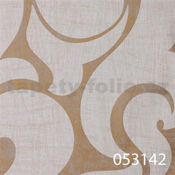 Vliesové tapety na zeď La Veneziana - benátský vzor bílý na zlatém podkladu s metalickým efektem
