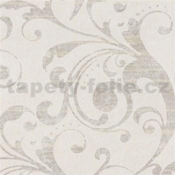 Tapety na zeď La Veneziana 2 - barokní vzor bílo-béžový
