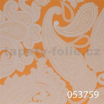 Vliesové tapety na zeď Astoria - kašmírový vzor bílý na oranžovém podkladu - SLEVA