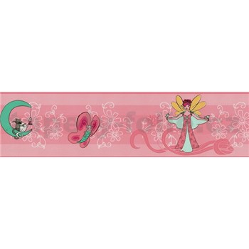 Dětská bordura 5 m x 13,2 cm - víla - růžová