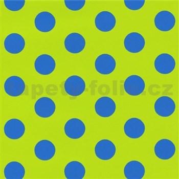 Dětské tapety na zeď Die Maus puntíky modré na zeleném podkladu