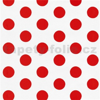 Dětské tapety na zeď Die Maus puntíky červené na bílém podkladu