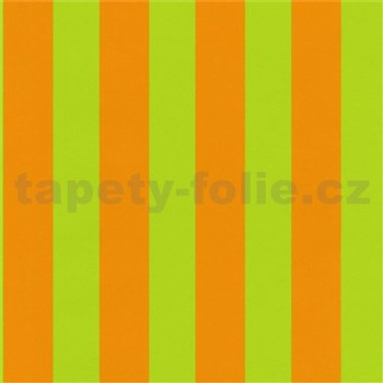 Dětské tapety na zeď Die Maus pruhy zeleno-oranžové