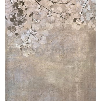 Vliesové fototapety betonová zeď s listy rozměr 225 cm x 250 cm