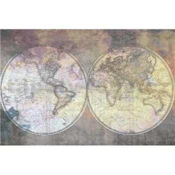 Vliesové fototapety mapy na betonové zdi rozměr 375 cm x 250 cm