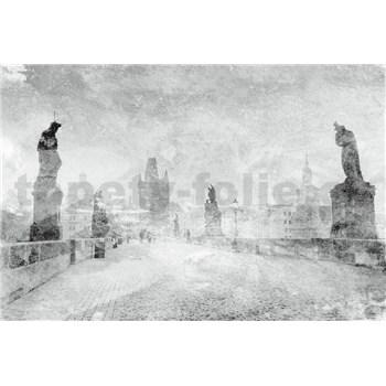 Vliesové fototapety Karlův most bílo-černý rozměr 375 cm x 250 cm