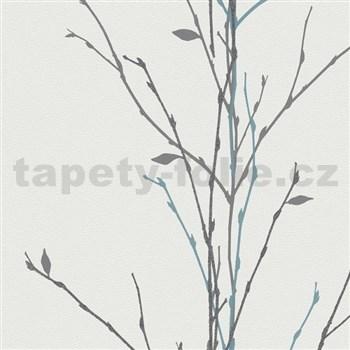 Vliesové tapety na zeď Gina větvičky černo-tyrkysové