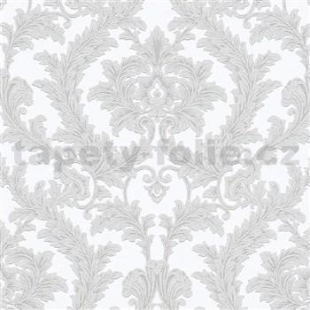 Vliesové tapety na zeď IMPOL Effecto zámecký vzor hnědošedý s třpytkami na bílém podkladu