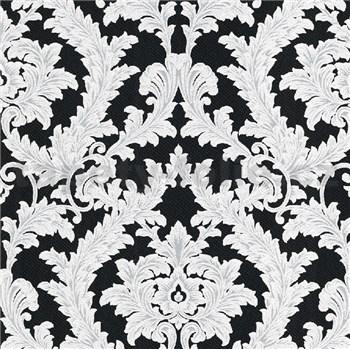 Vliesové tapety na zeď IMPOL Effecto zámecký vzor bílo-šedý s třpytkami na černém podkladu