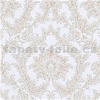 Vliesové tapety na zeď IMPOL Effecto zámecký vzor hnědo-bílý s třpytkami
