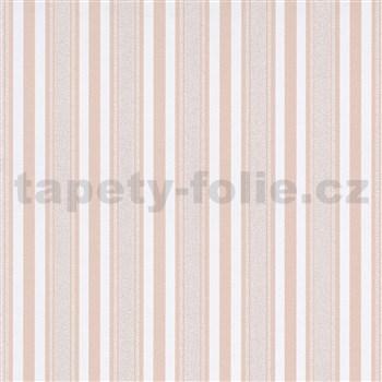 Vliesové tapety na zeď IMPOL Effecto pruhy růžovo-bílé s třpytkami