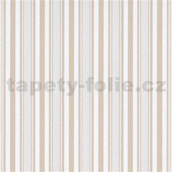 Vliesové tapety na zeď IMPOL Effecto pruhy hnědo-bílé s třpytkami