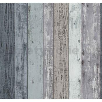 Vliesové tapety Einfach Shöner dřevěná prkna modrá