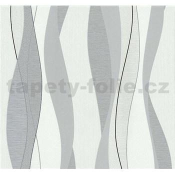Vliesové tapety Einfach Shöner vlnovky šedo-stříbrné