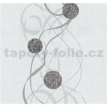Vliesové tapety na zeď Einfach Schoner kolečka černé na bílém podkladu