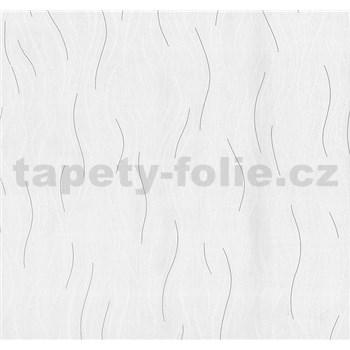 Vliesové tapety na zeď Einfach Schoner vlnovky bílo-šedé se třpytem