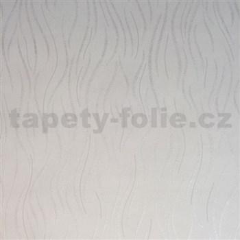Vliesové tapety na zeď Einfach Schoner vlnovky bílé s jemným třpytem