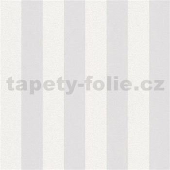 Vliesové tapety na zeď Ella pruhy bílé s textilní strukturou s třpytkami
