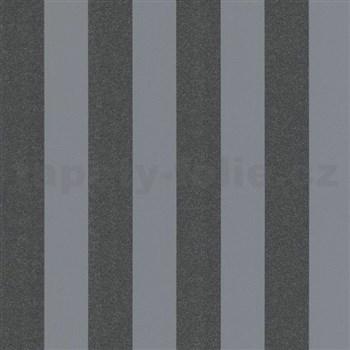 Vliesové tapety na zeď Ella pruhy černé s textilní strukturou s třpytkami