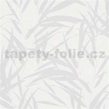 Vliesové tapety na zeď Ella bambusové listy stříbrné na bílé textilní struktuře