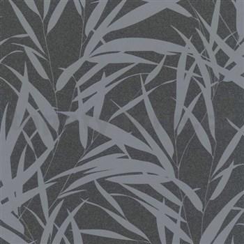 Vliesové tapety na zeď Ella bambusové listy šedé na černé textilní struktuře