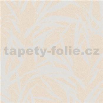 Vliesové tapety na zeď Ella bambusové listy stříbrné na krémové textilní struktuře