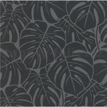 Vliesové tapety na zeď Ella velké listy černo-stříbrné