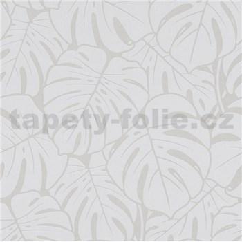 Vliesové tapety na zeď Ella velké listy šedo-stříbrné