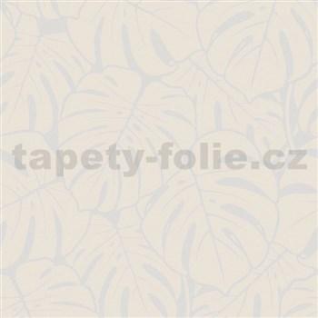 Vliesové tapety na zeď Ella velké listy krémovo-stříbrné
