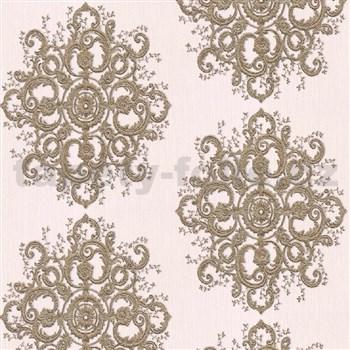 Vliesové tapety na zeď Elle Decoration zámecký vzor zlatý na krémovém podkladu