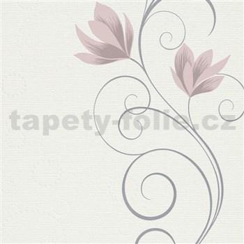 Vliesové tapety na zeď Natural Living květy růžové na krémovém podkladu