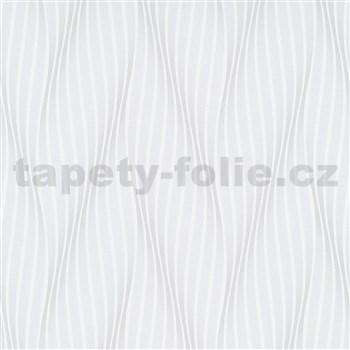 Vliesové tapety na zeď Trésor vlnovky bílo-šedé s leskem