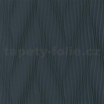 Vliesové tapety na zeď Trésor vlnovky černé s leskem