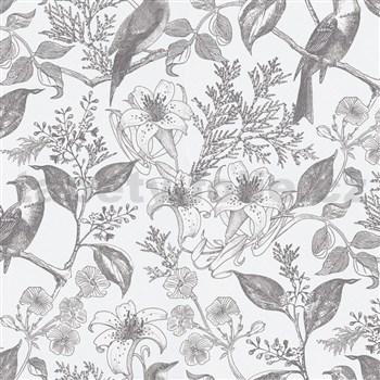 Vliesové tapety na zeď IMPOL perokresba květy s ptáky
