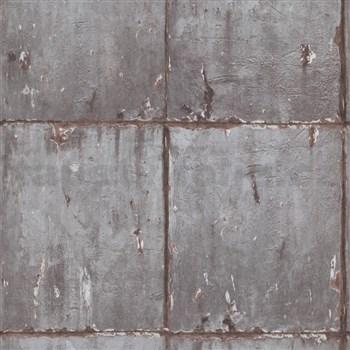 Vliesové tapety na zeď IMPOL Instawalls 2 betonové panely šedo-měděné
