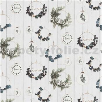 Vliesové tapety na zeď IMPOL vyšívací rámečky s eucalyptem na bílém dřevě