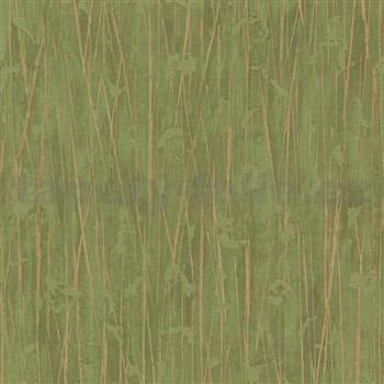Vliesové tapety na zeď IMPOL Paradisio 2 florální vzor zlatý na zeleném podkladu