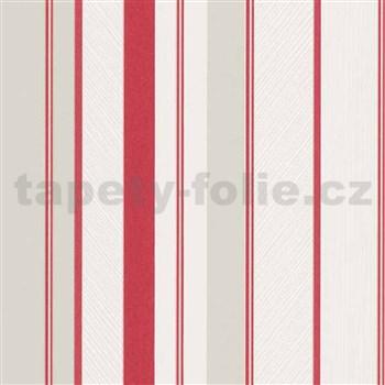 Vliesové tapety na zeď IMPOL Wall We Love pruhy strukturované červeno-šedo-bílé