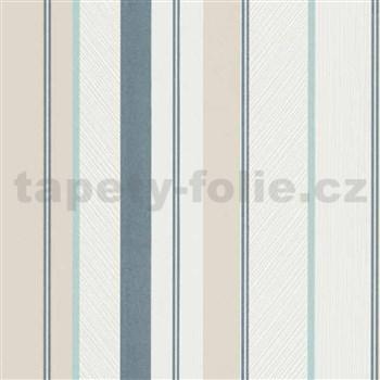 Vliesové tapety na zeď IMPOL Wall We Love pruhy strukturované modro-béžovo-bílé