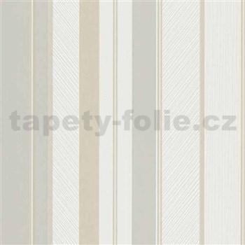 Vliesové tapety na zeď IMPOL Wall We Love pruhy strukturované šedo-béžovo-bílé