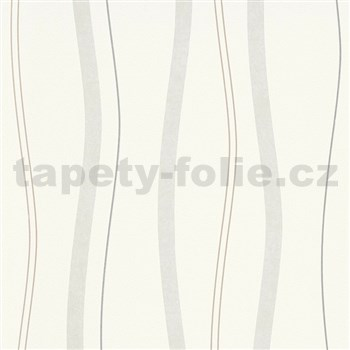 Vliesové tapety na zeď Natural Living vlnovky hnědo-šedé
