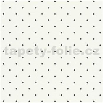 Vliesové tapety na zeď Freestyle puntíky černé na bílém podkladu