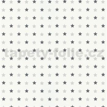 Vliesové tapety na zeď Freestyle hvězdičky šedo-černé na bílém podkladu