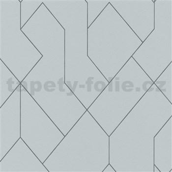 Vliesové tapety na zeď Graphics & Basics geometrický vzor černý na šedém podkladu