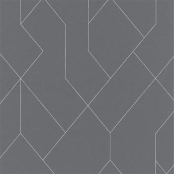 Vliesové tapety IMPOL Graphics & Basics geometrický vzor šedý na tmavém podkladu
