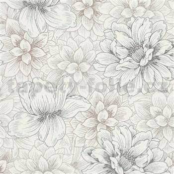 Vliesové tapety IMPOL Natural Living bílé květy se stříbrnými a zlatými detaily