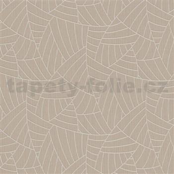 Vliesové tapety na zeď Graphics & Basics linky stříbrné na hnědém podkladu