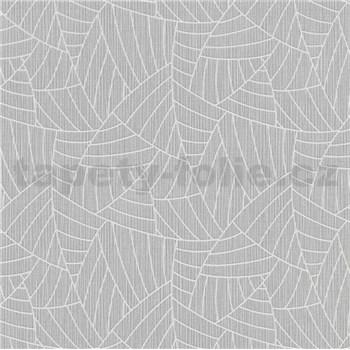 Vliesové tapety na zeď Graphics & Basics linky stříbrné na šedém podkladu
