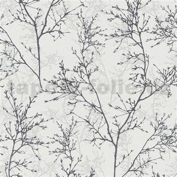 Vliesové tapety na zeď Instawalls větvičky černo-šedé